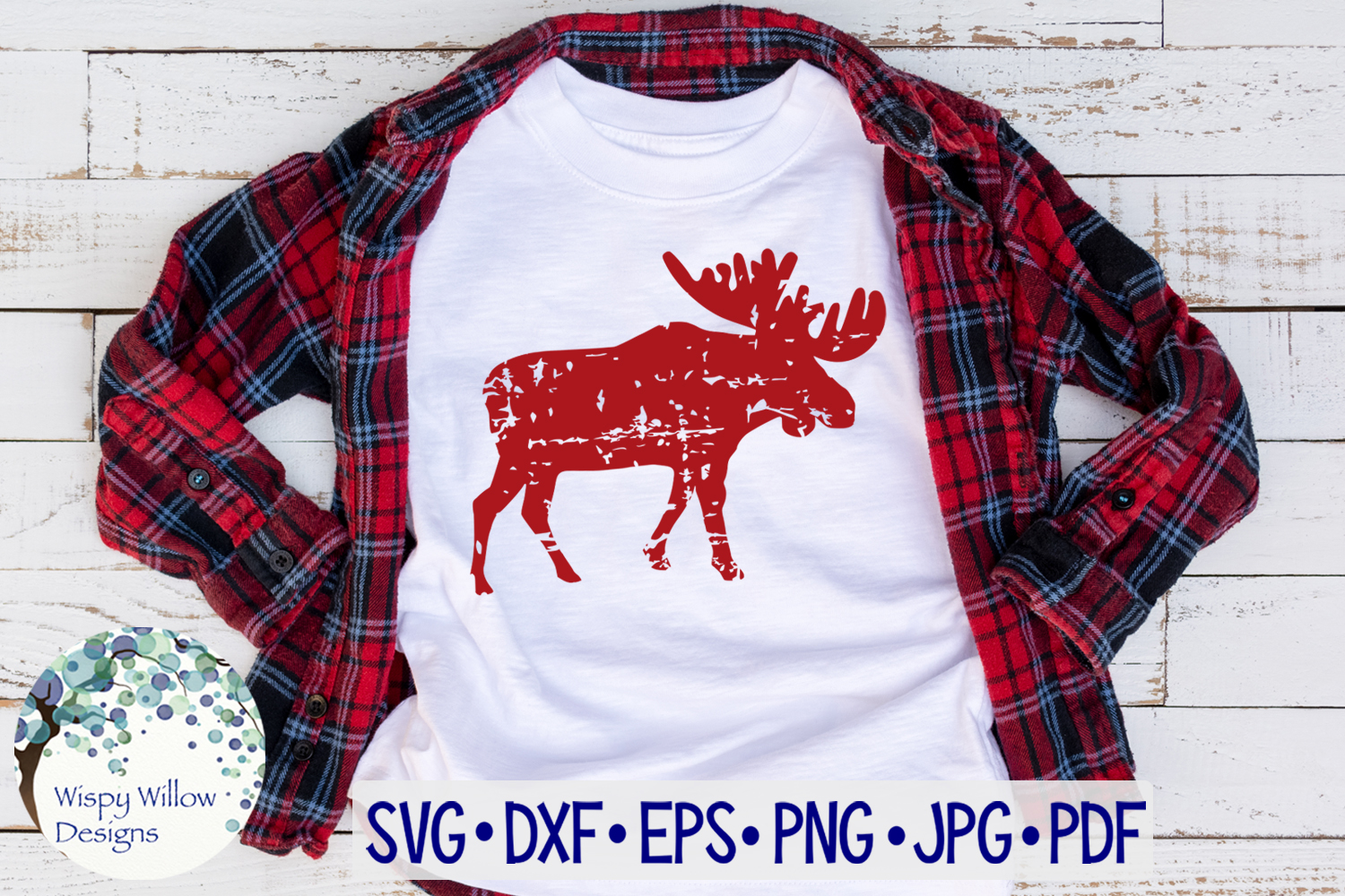 Distressed Grunge Moose | Christmas Winter SVG Cut File example image 2