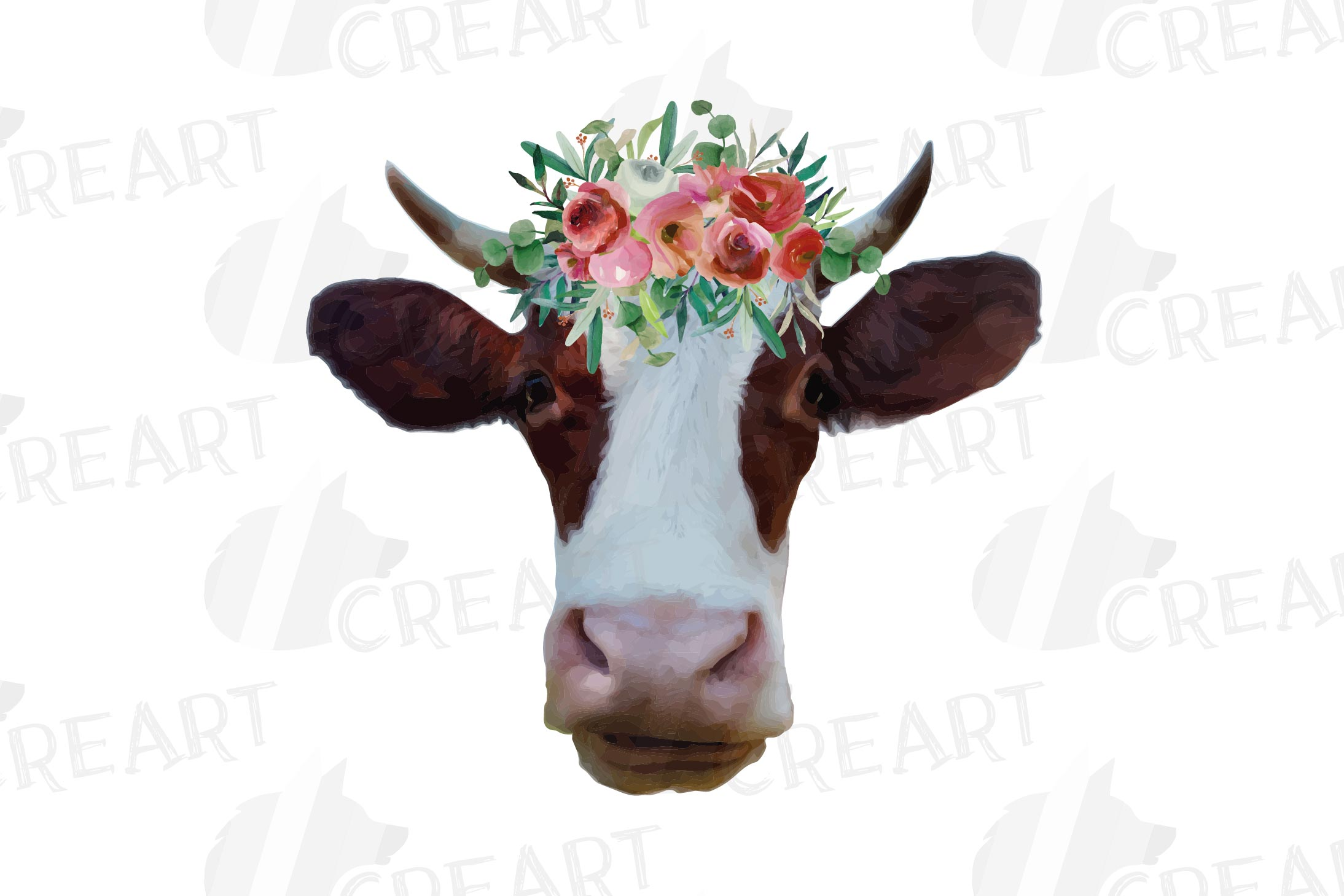 Cows with floral crown clip art. Not today heifer graphic example image 7