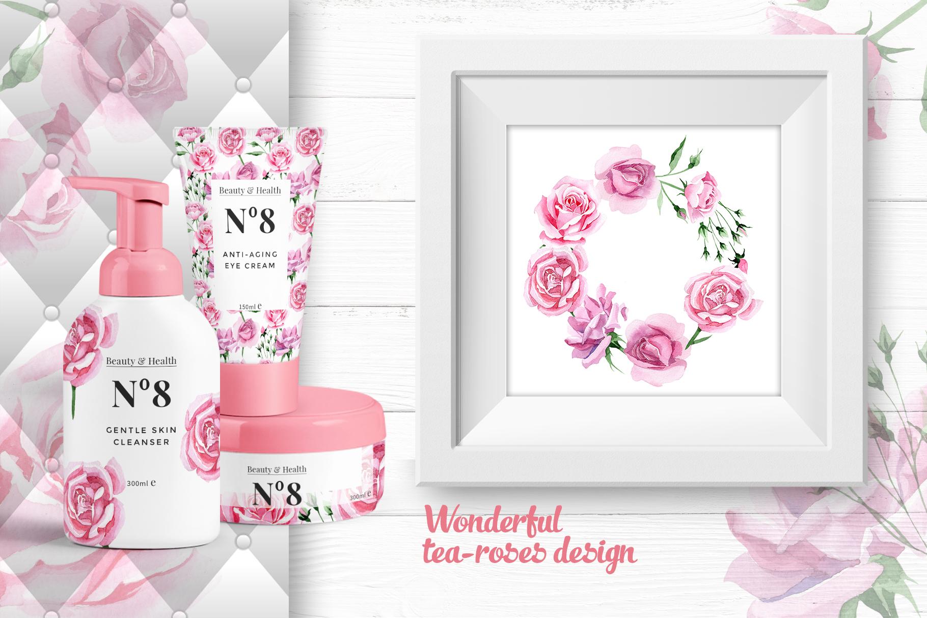 Tea-rose PNG watercolor set example image 4