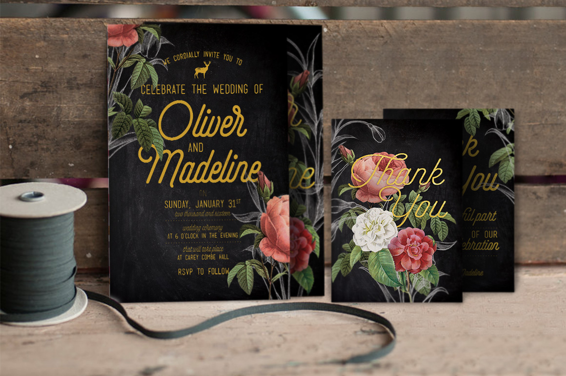 Hand Drawn Floral Wedding Invitation example image 1