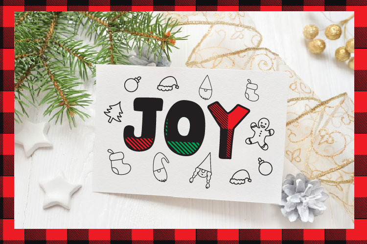 Christmas buffalo plaid font with doodles elements example image 7