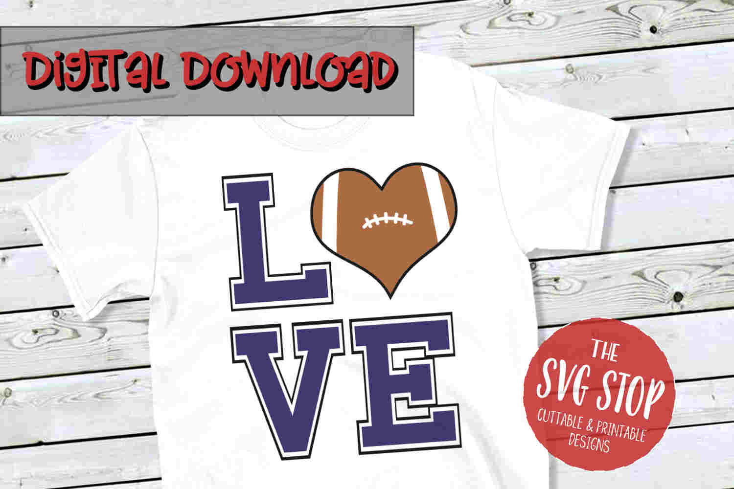 Love Football 3-SVG, PNG, DXF example image 1