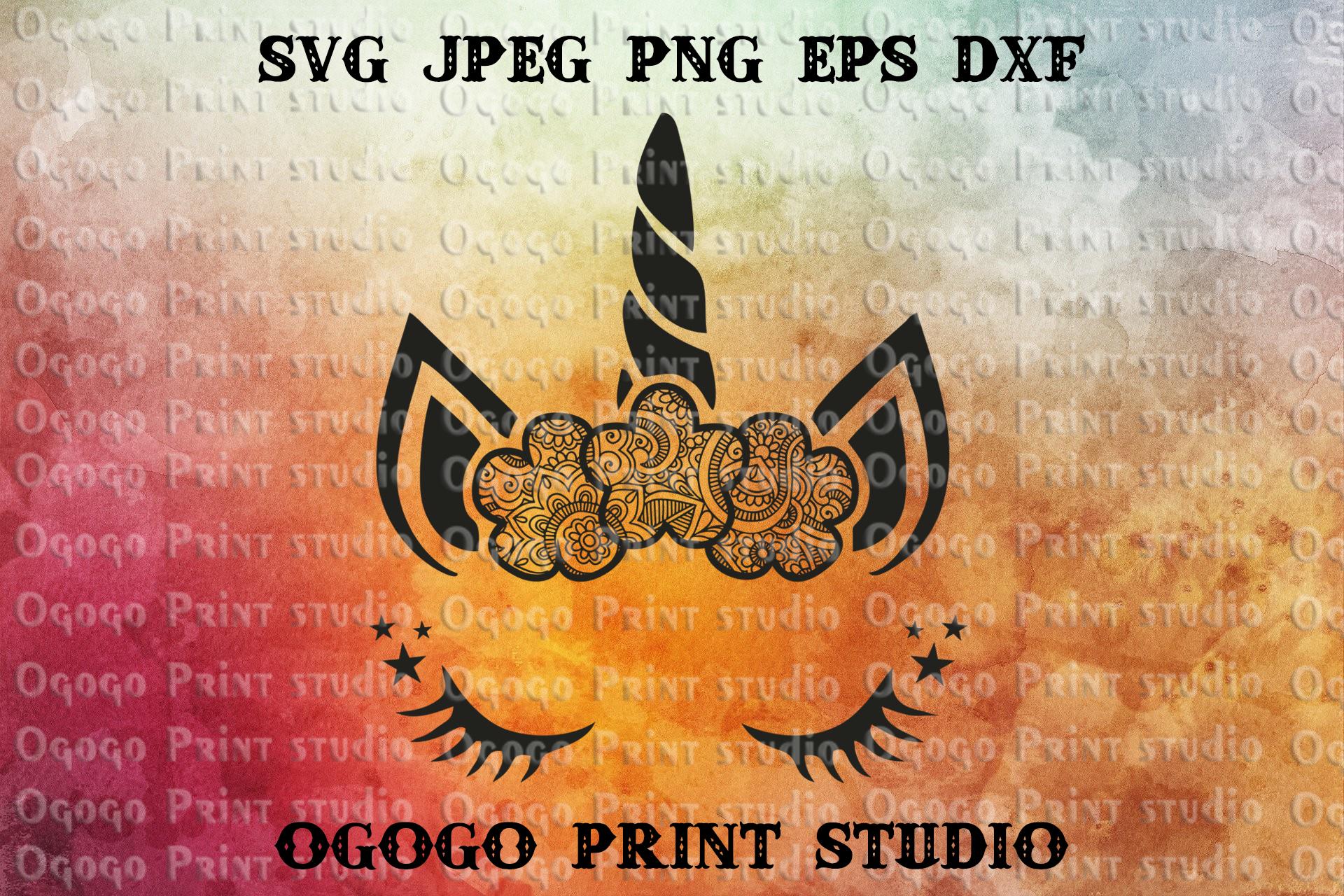 Unicorn SVG, Zentangle SVG, Animal svg, Mandala svg, Cricut example image 1
