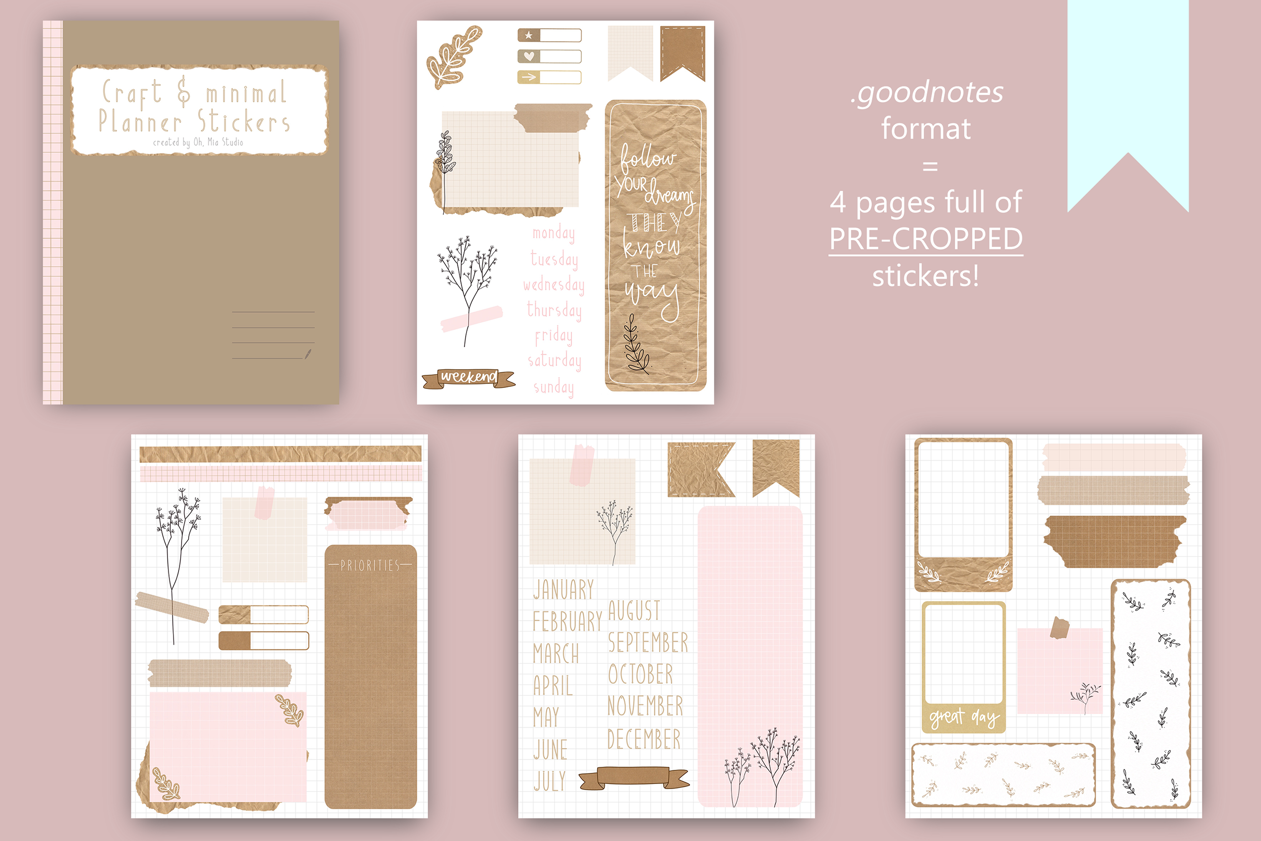 Digital Planner Stickers Craft Style PNG & GoodNotes file example image 4