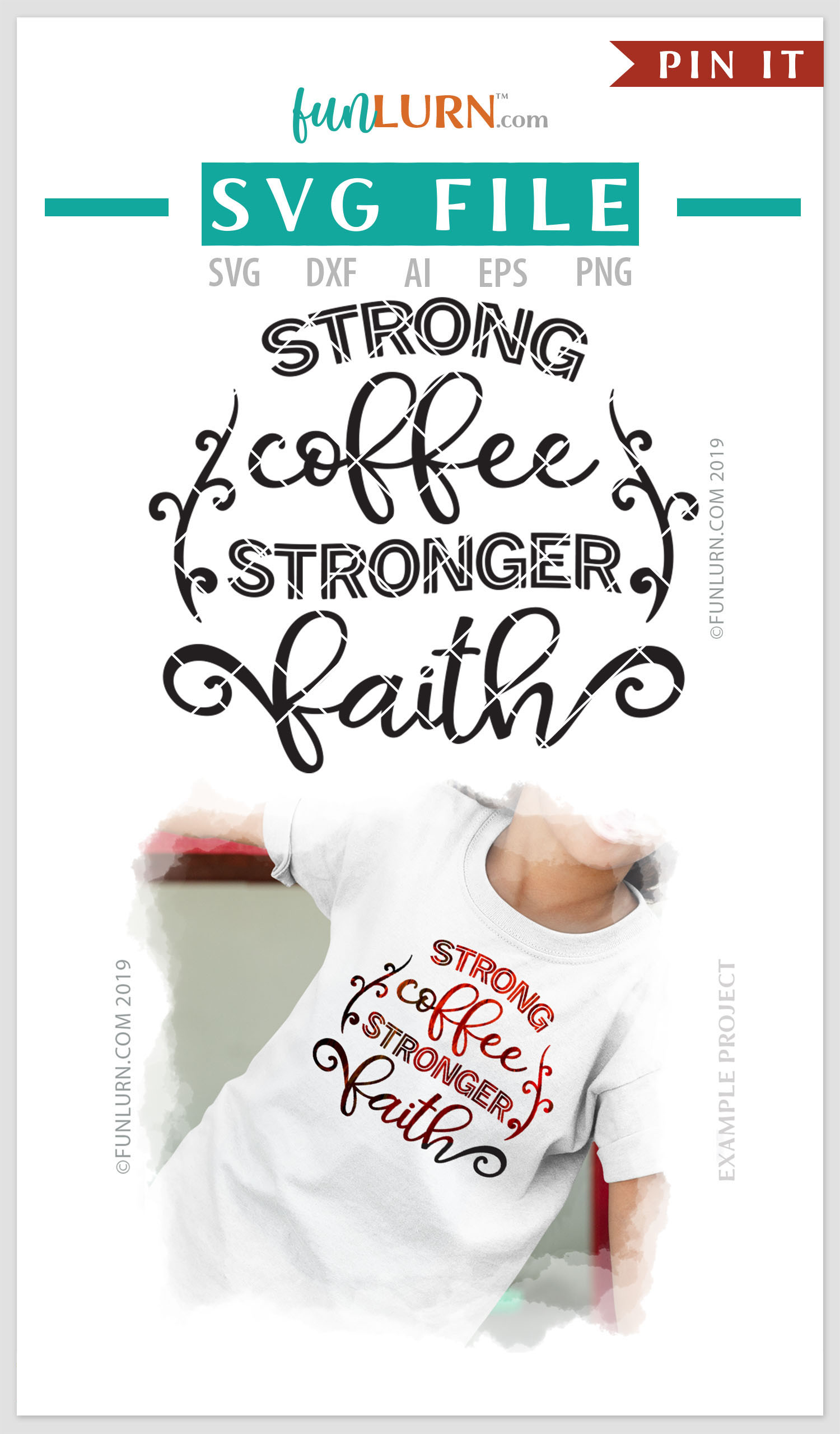 Strong Coffee Stronger Faith SVG Cut File example image 4