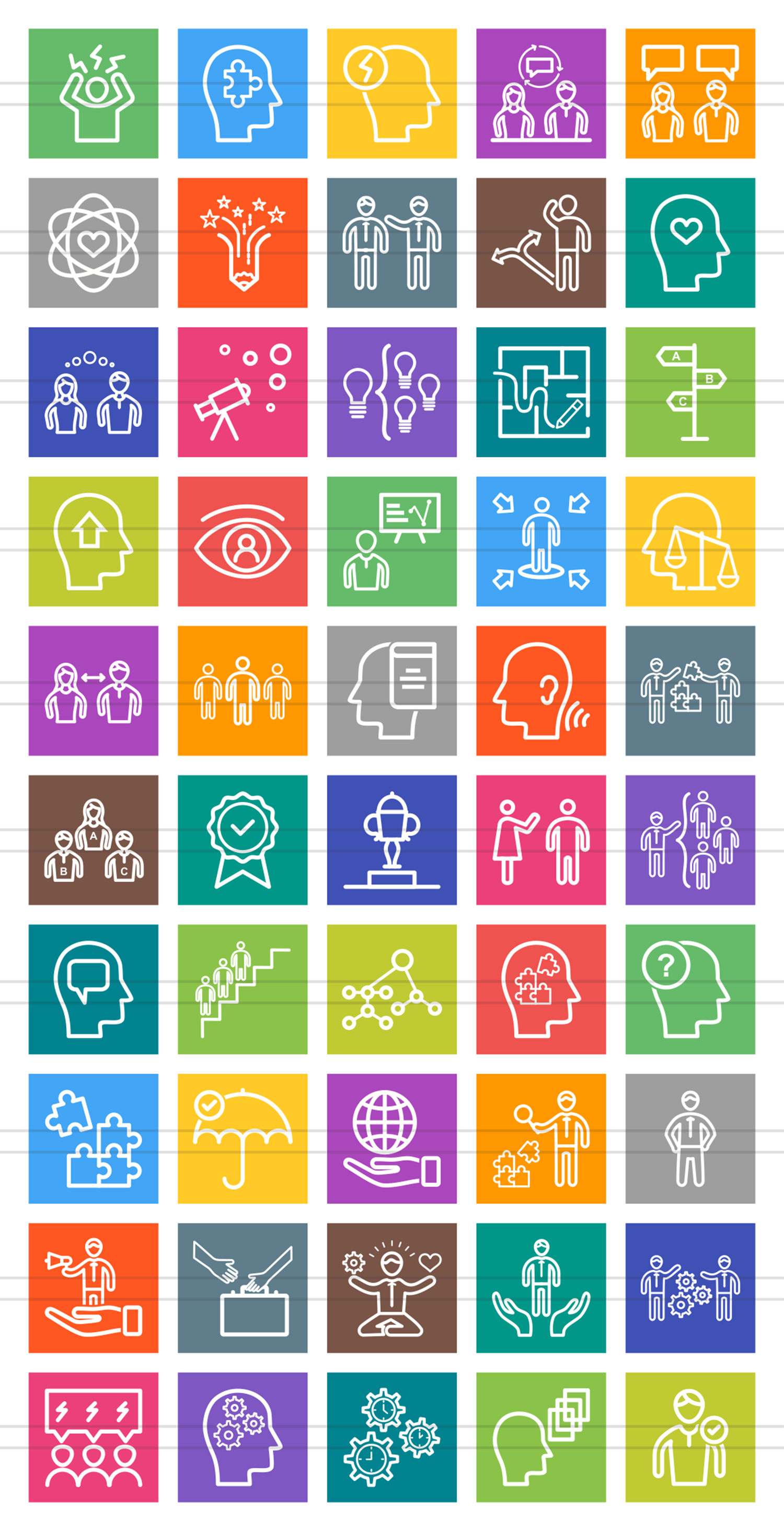 50 Soft Skills Line Multicolor B/G Icons example image 2