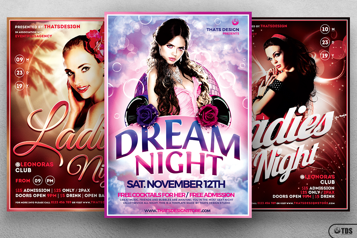 Ladies Night Flyer Bundle V1 example image 2