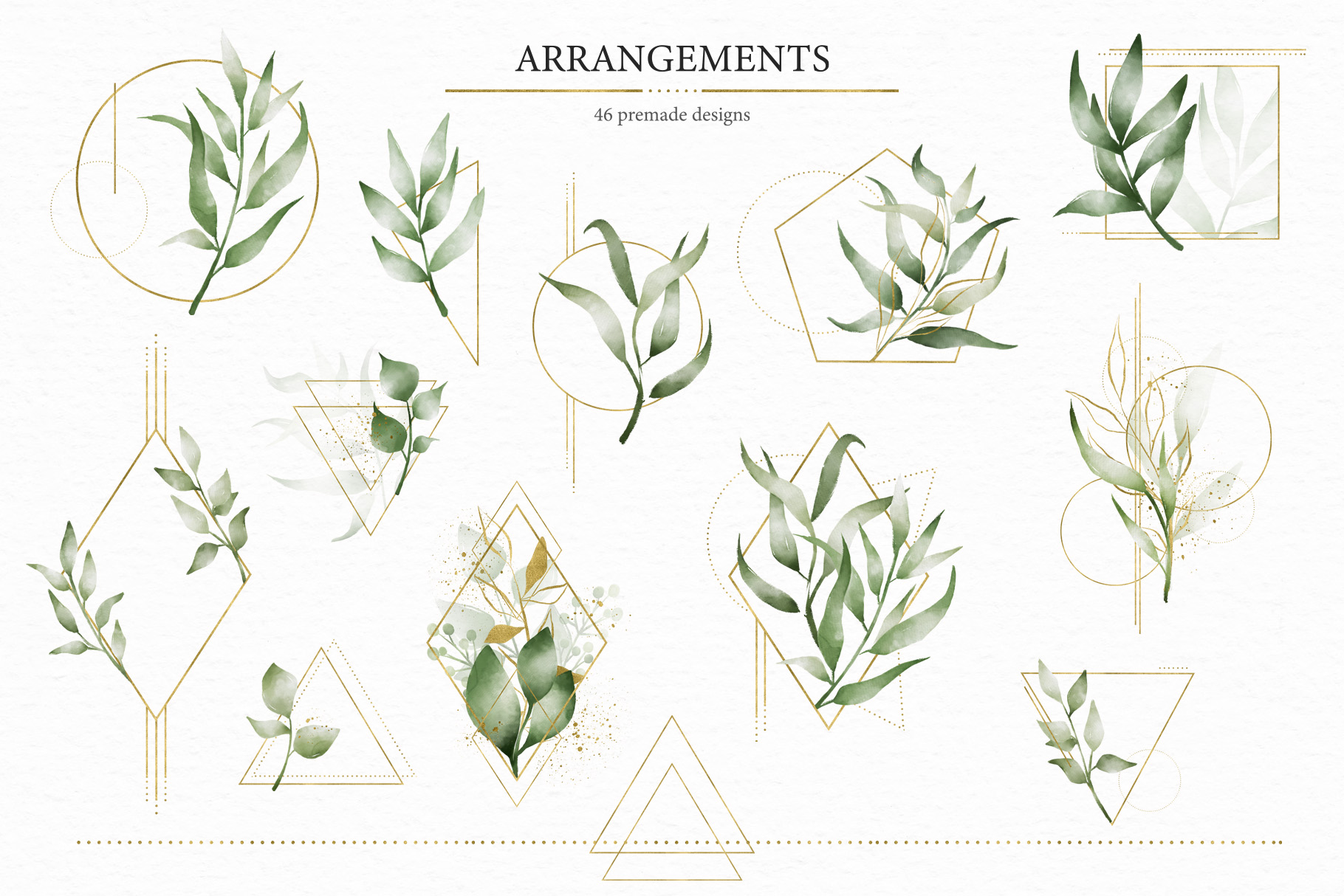 Geometrical. Gold & Watercolor Kit example image 7