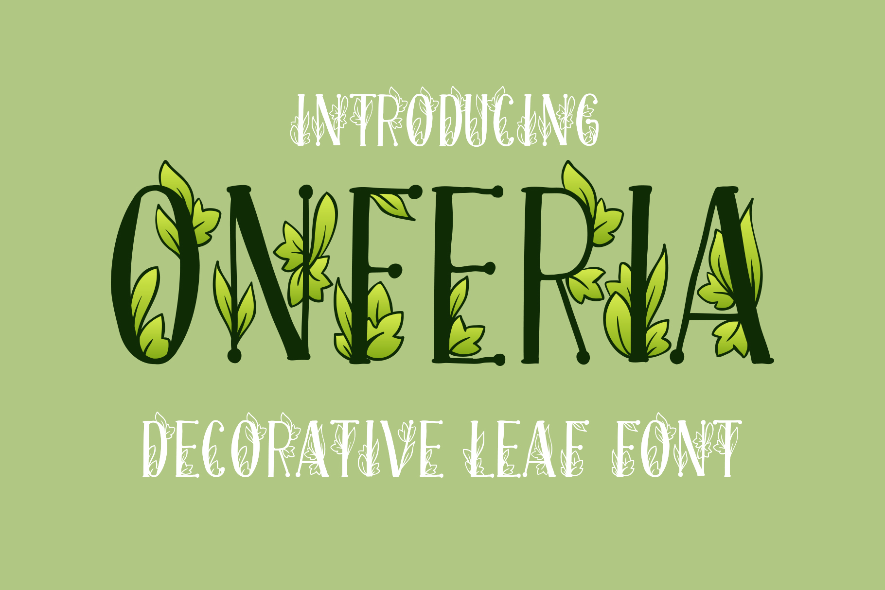 Onferia - decorative leaf font example image 1