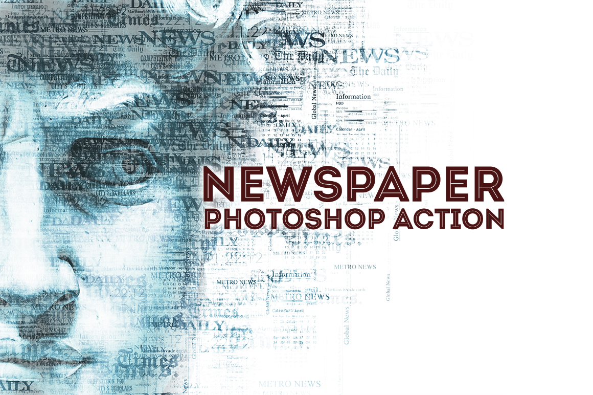 Newspaper Text Photoshop Action example image 1