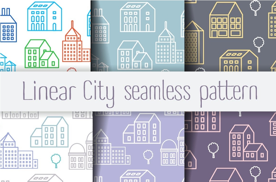 Digital paper scrapbooking Linear city seamless patterns set example image 1
