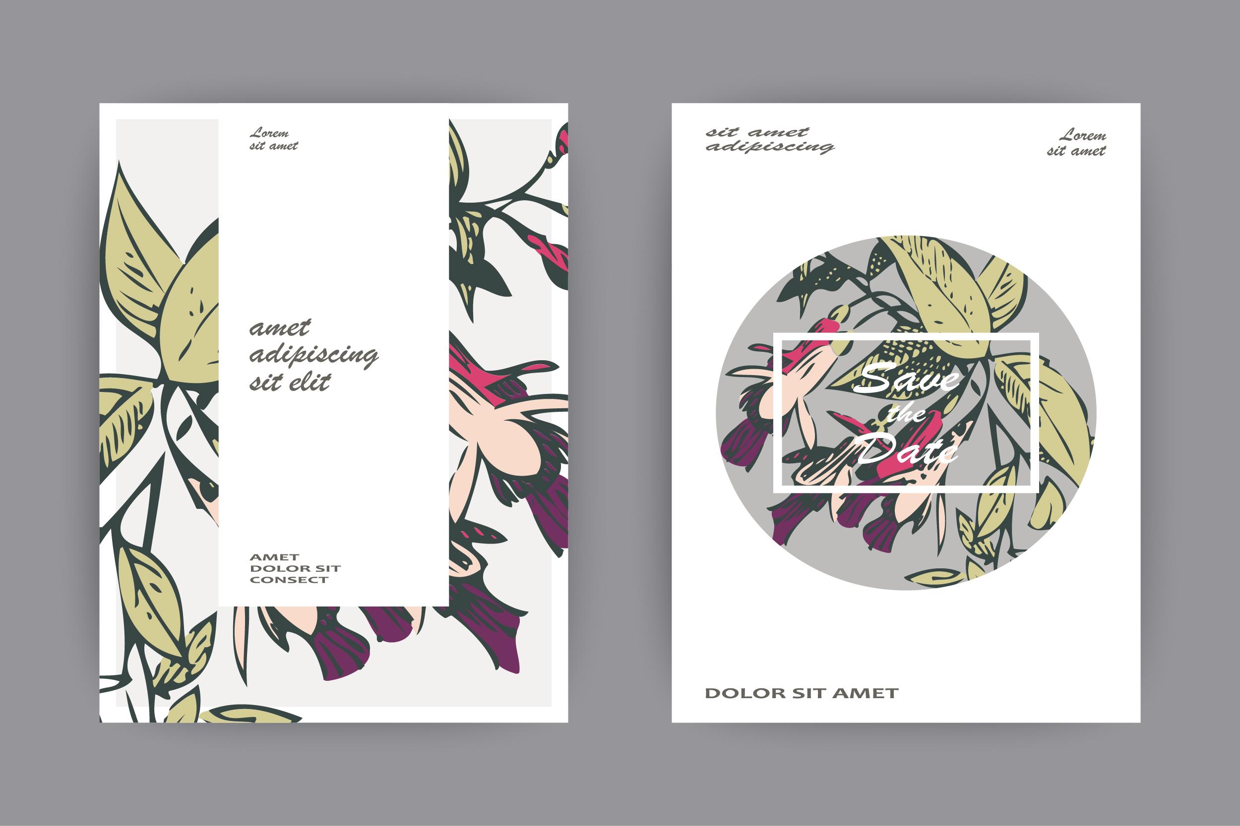Fuchsia flowers wedding invitation card template design example image 3