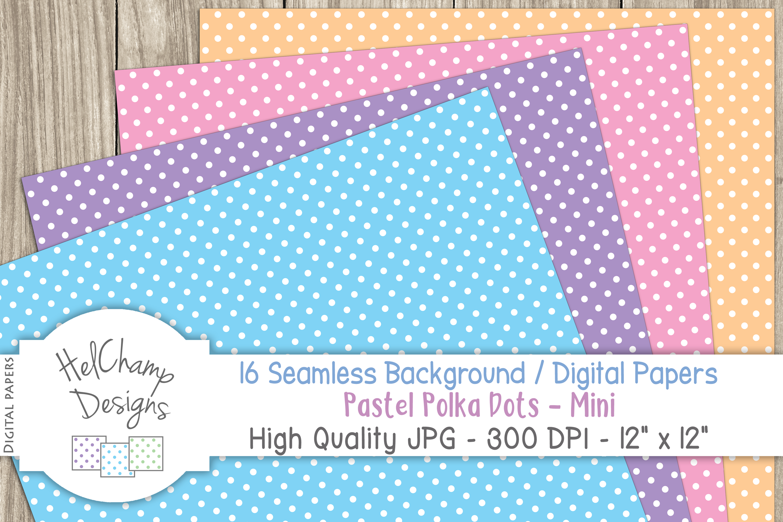 16 seamless Digital Papers - Pastel Polka Dots Mini - HC008 example image 2