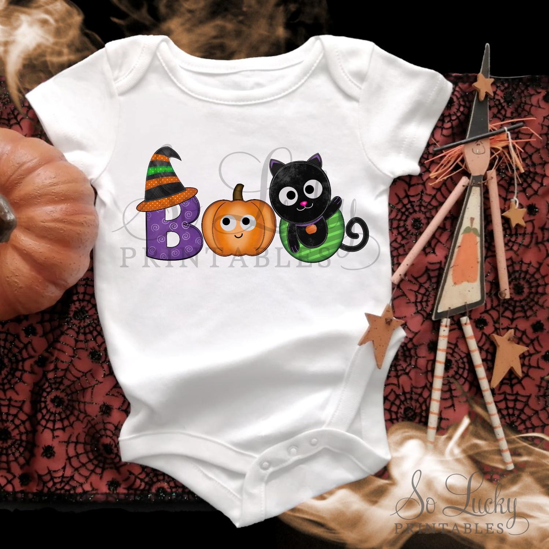 Boo Halloween watercolor printable sublimation design example image 3