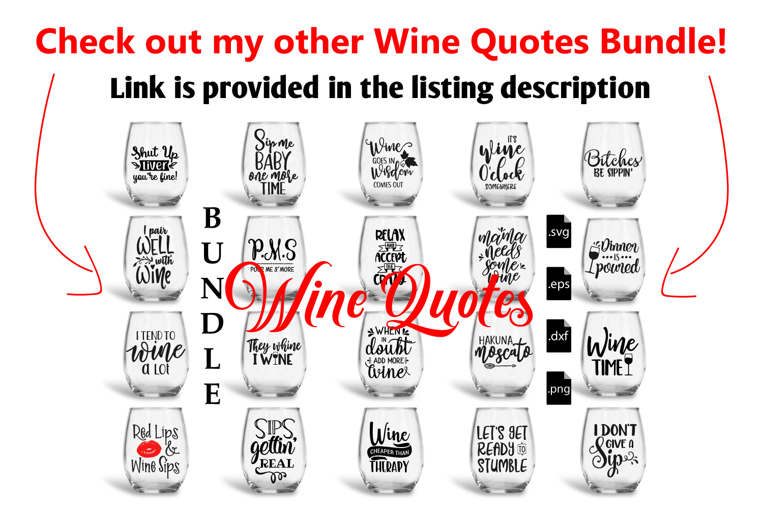 Wine Quotes Bundle Vol 2 - SVG, EPS, DXF, PNG example image 7