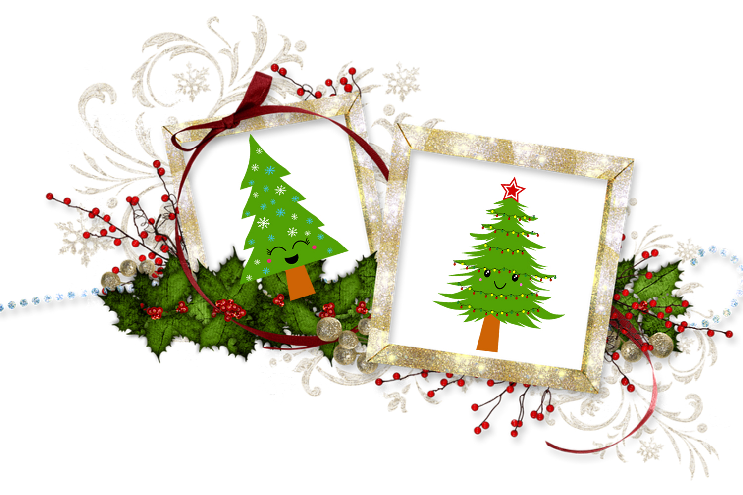 Cute Kawaii Christmas Trees Clipart- Xmas Trees Clipart example image 7