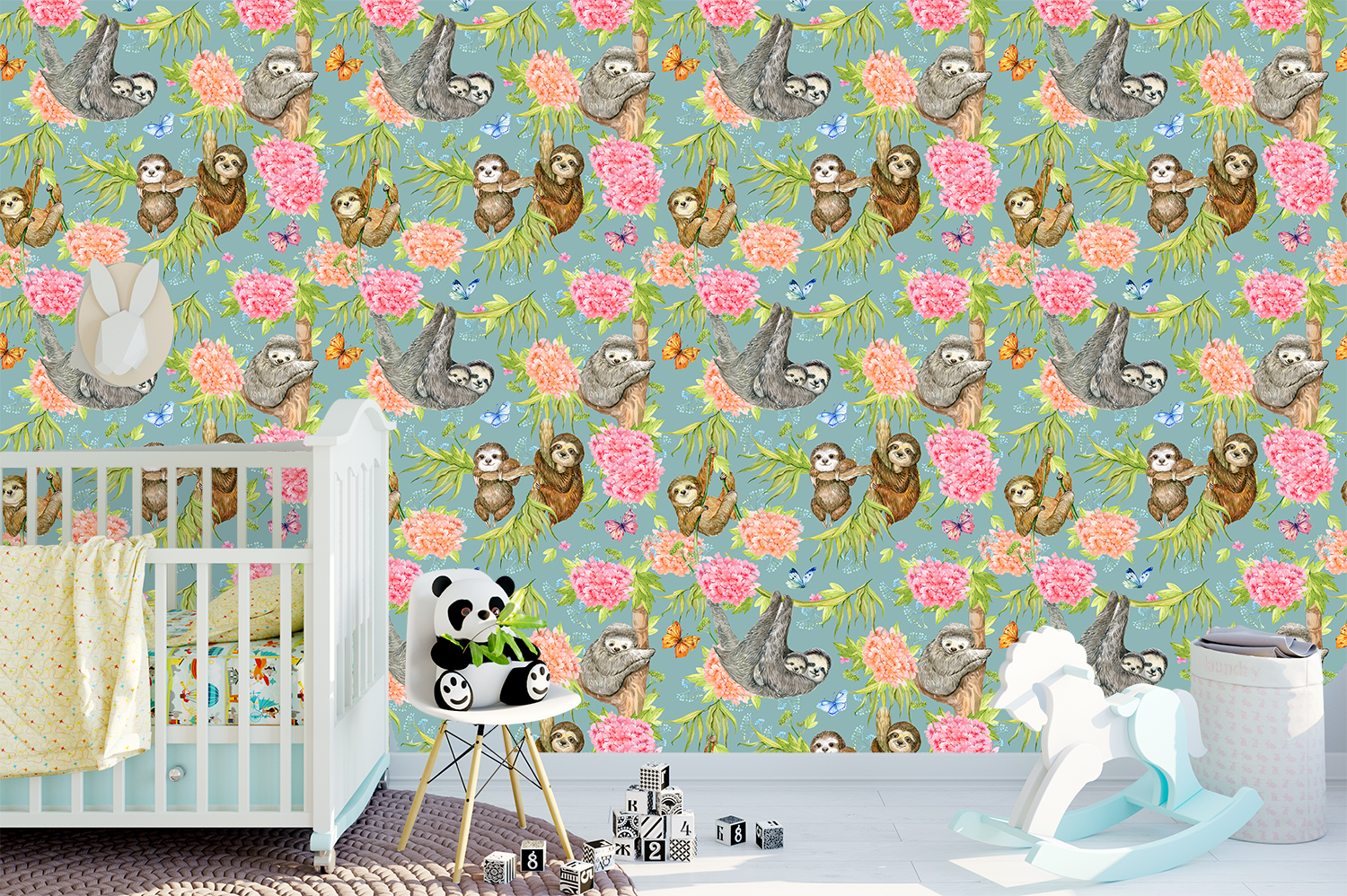 Sloths Seamless patterns example image 5