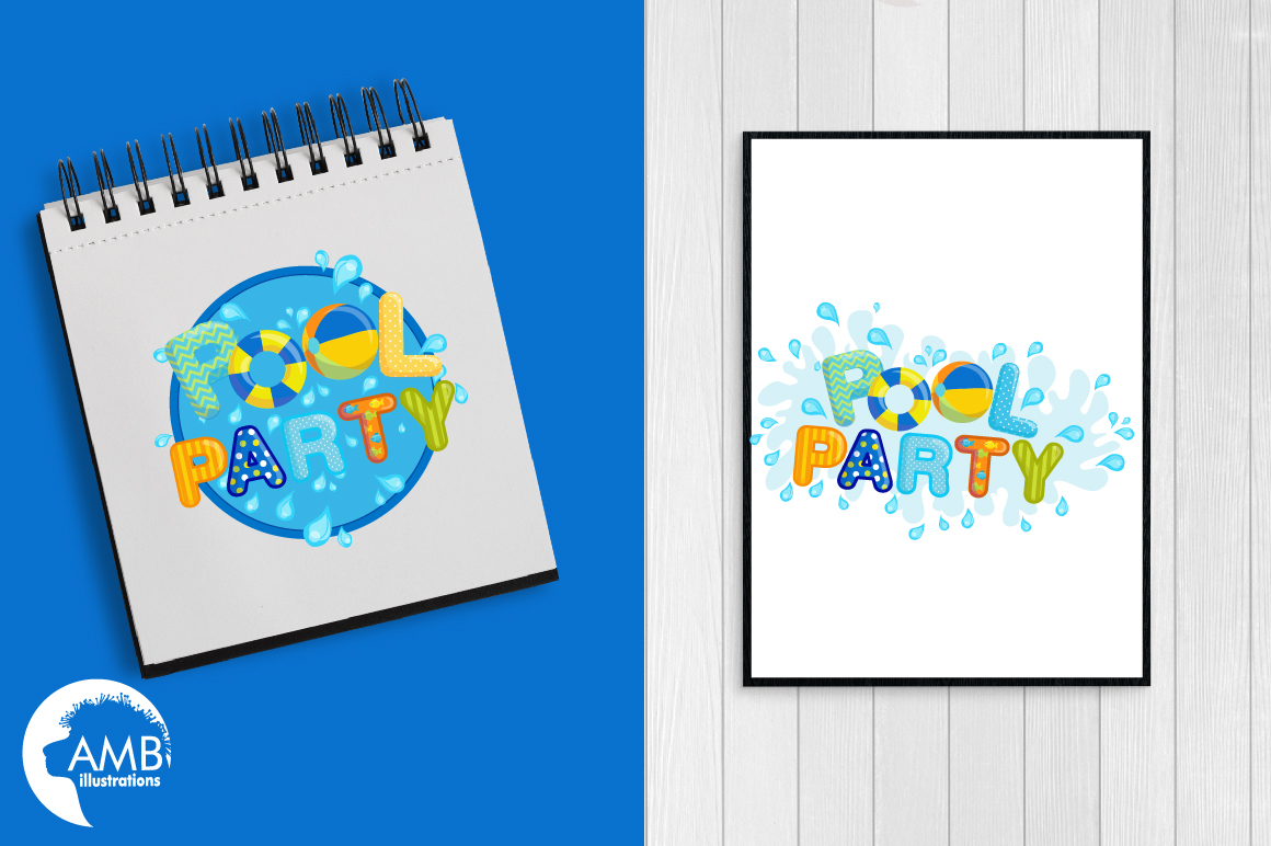 Pool party elements clipart, graphics pack AMB-1260 example image 3