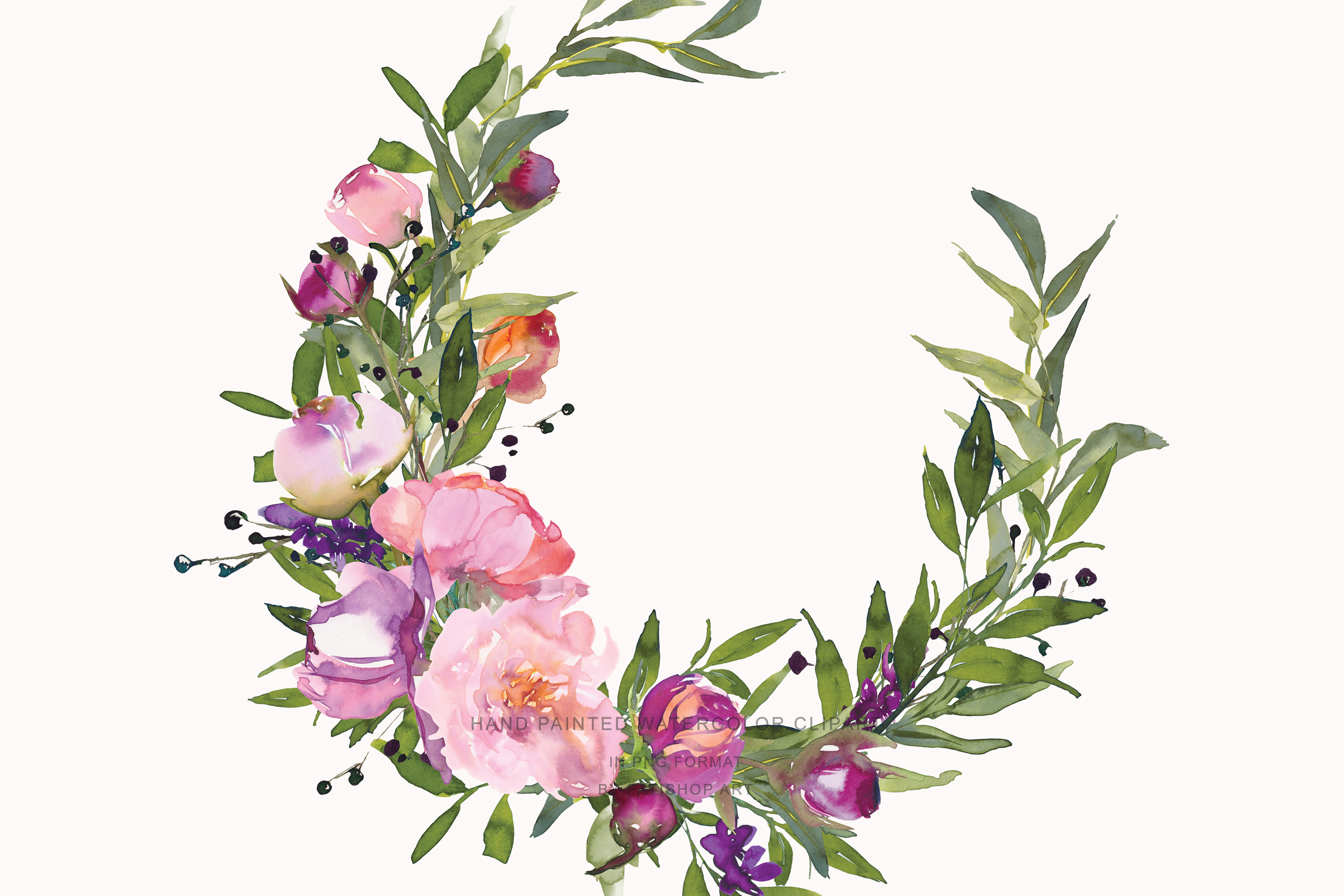 Watercolor Pink Peony Wreath Set example image 7