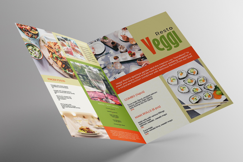 Vegan Menu Bifold Brochure A3 - AI/PSD Templates example image 4