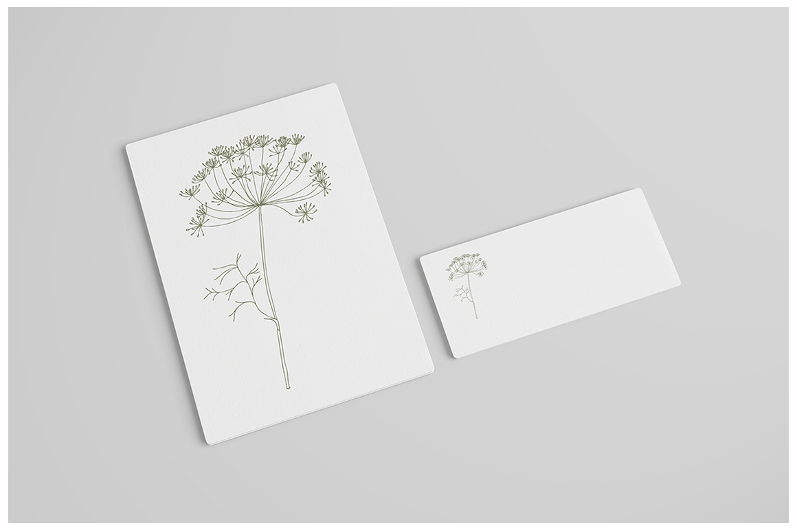 Hand drawn wild flowers and fern leaves example image 6