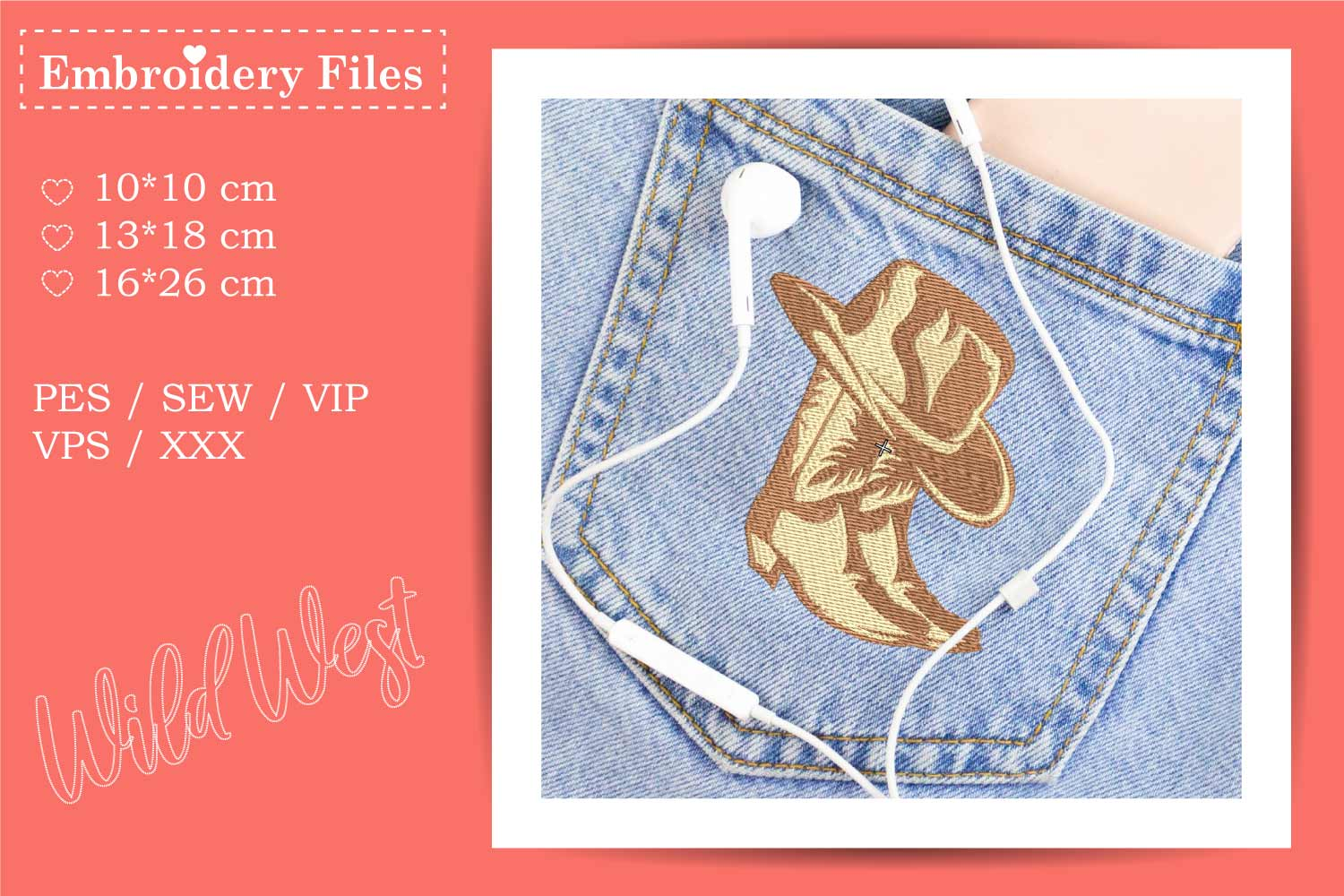 Cowboy Boots and Hat - Embroidery File for Beginners example image 3