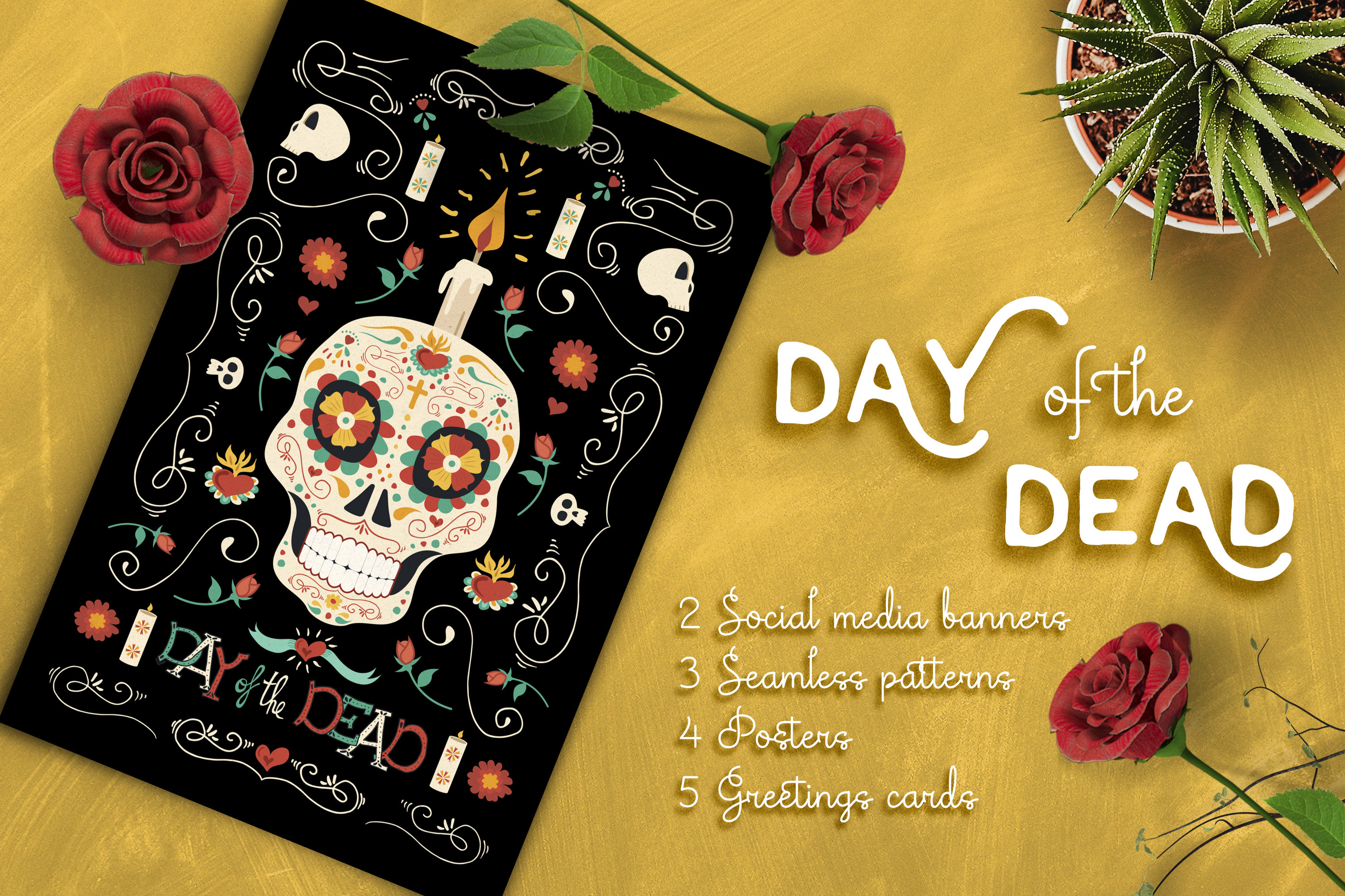 Hand Drawn Day of the Dead Set: skull party! example image 1