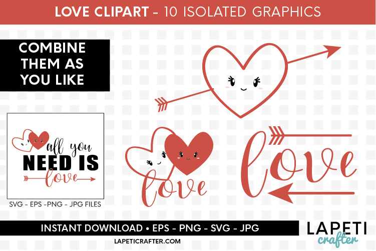 Valentines Day clip art, all you need is love svg, eps, png example image 4