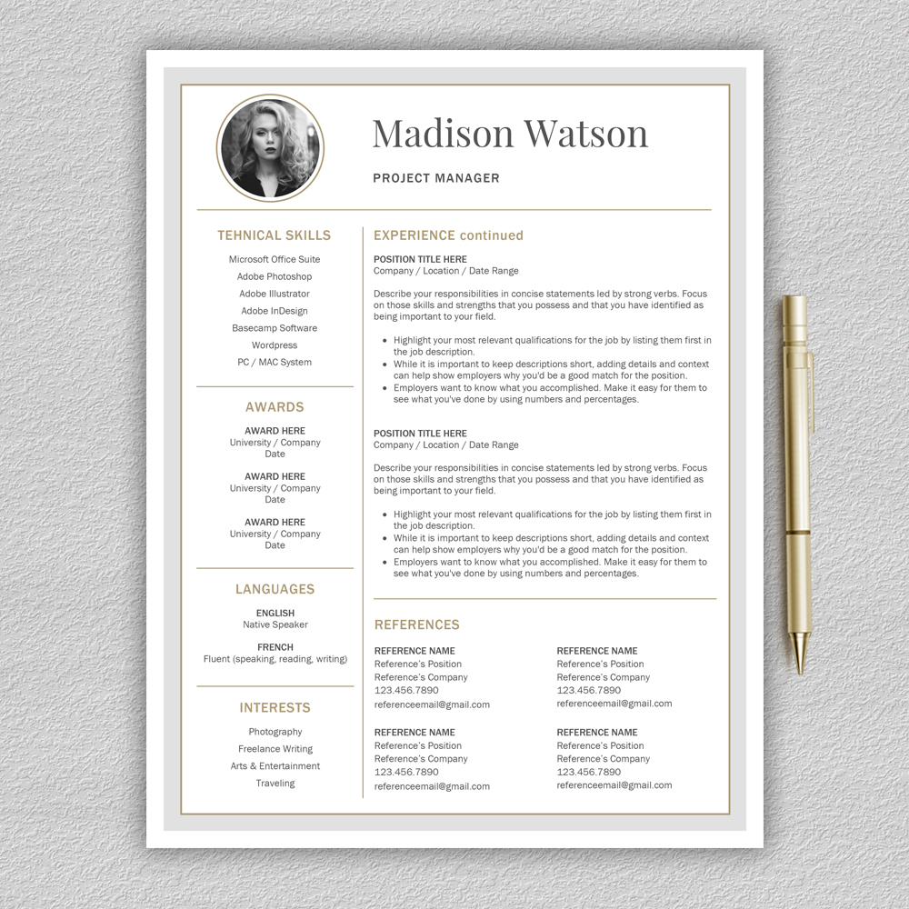 Professional Resume Template / CV Template / Resume for Word with Cover Letter example image 4