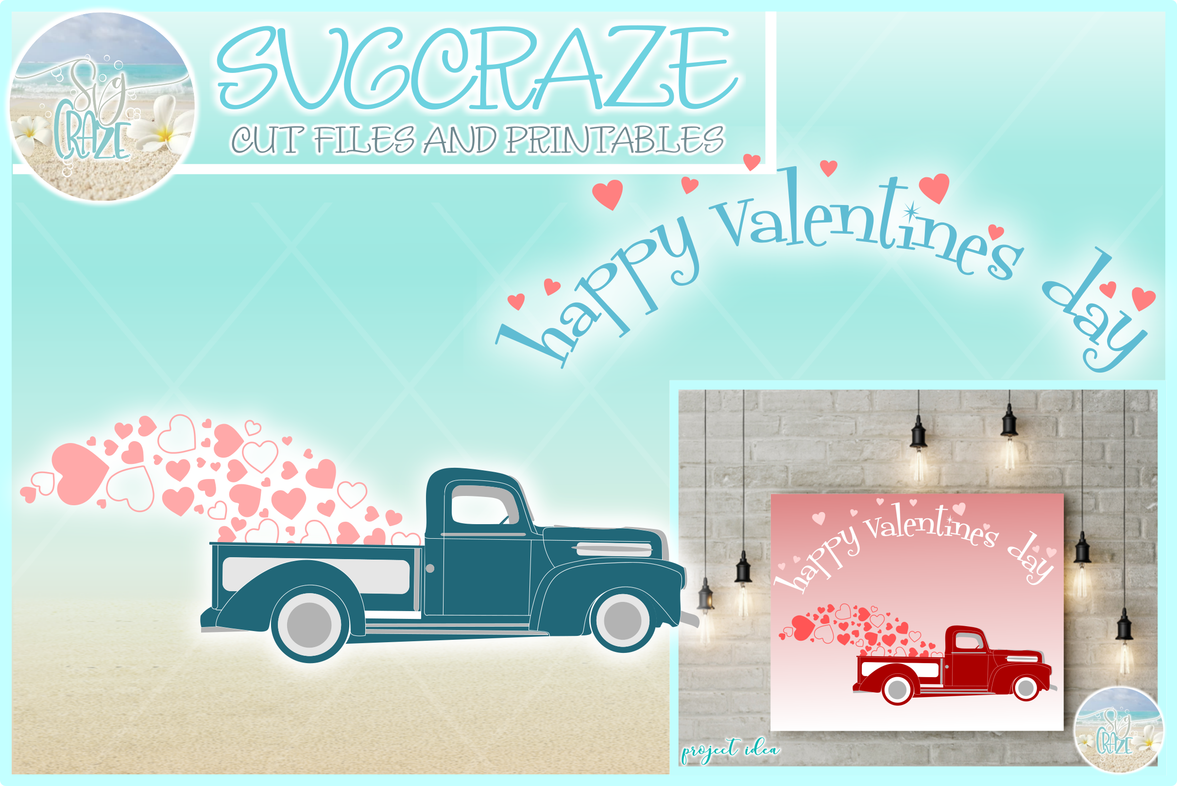 Happy Valentines Day Hearts Truck Svg Dxf Eps Png Pdf example image 1