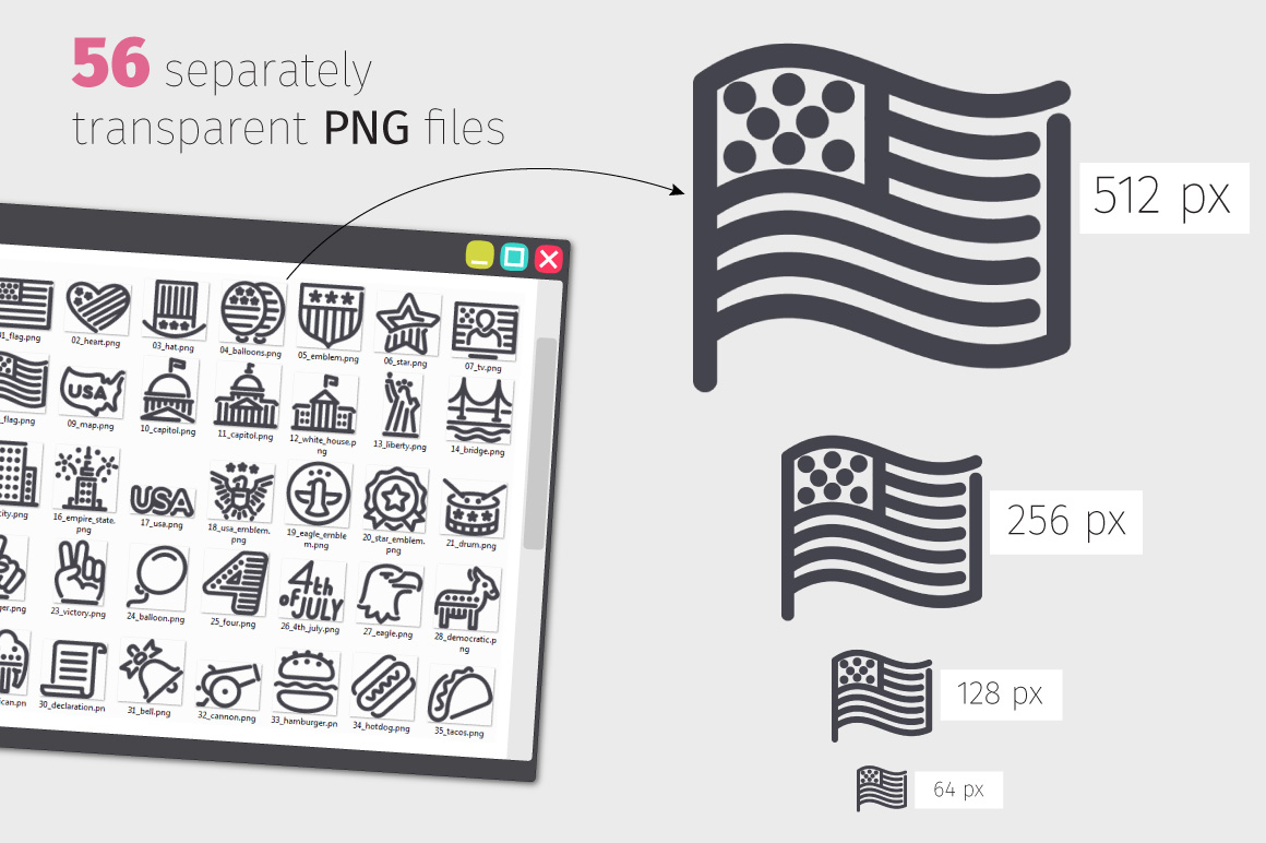 USA Independence Day Line Icons Set example image 3