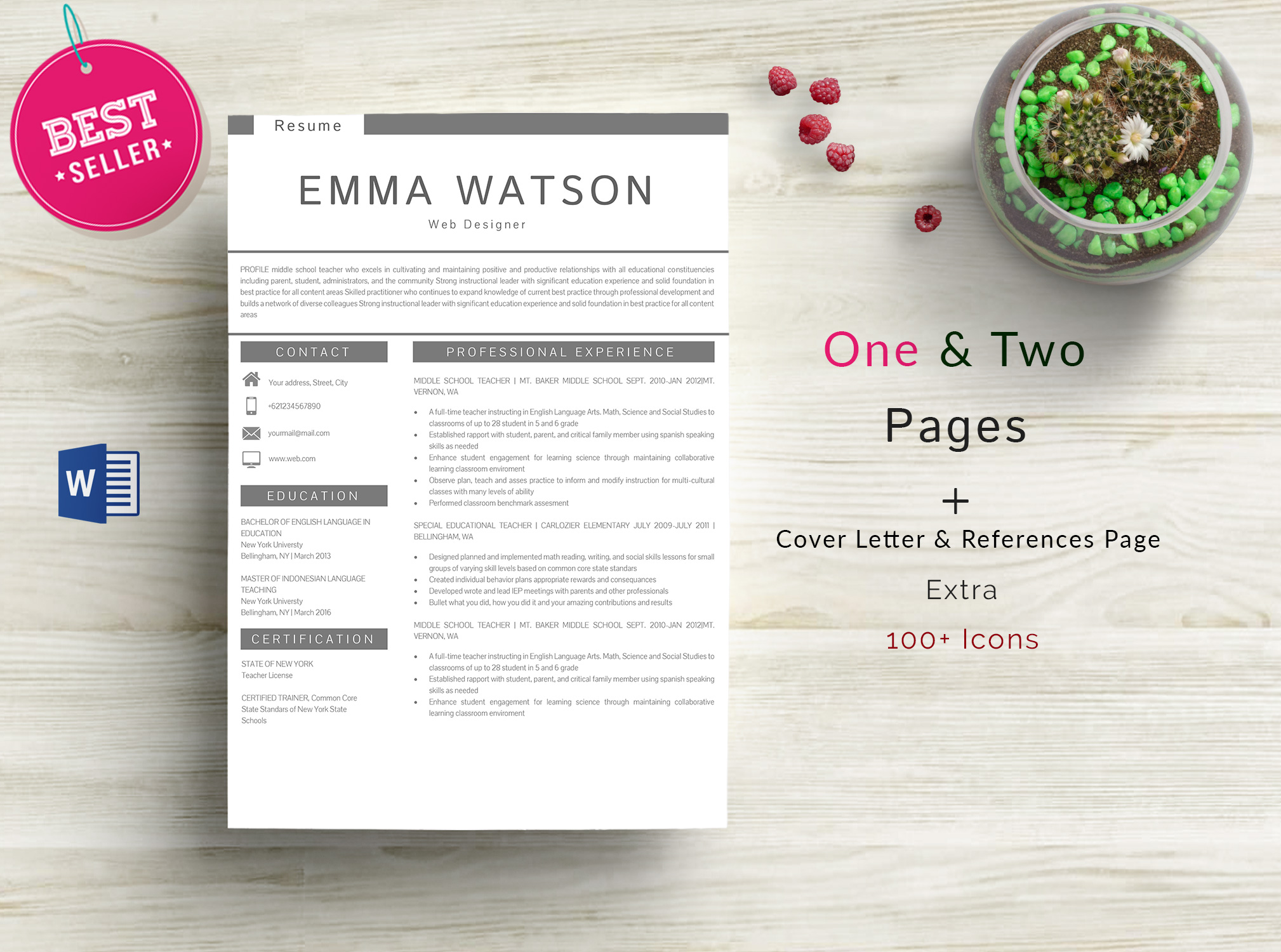 Professional creative Resume Template 4 Pages example image 1