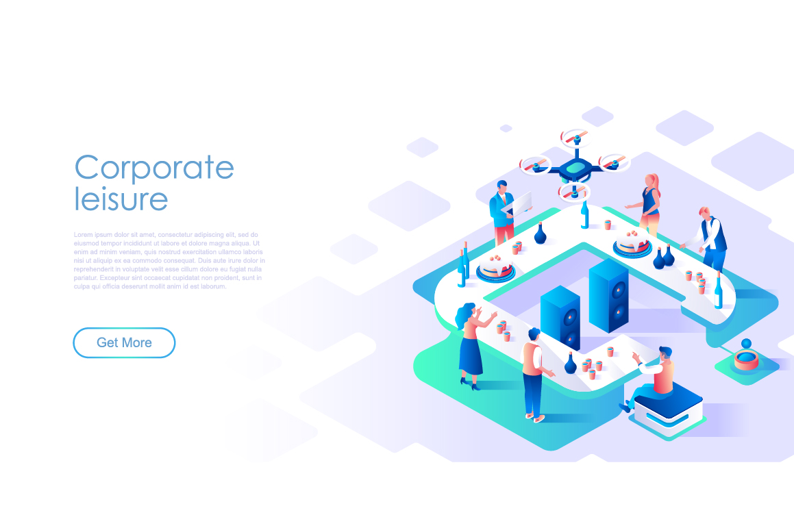 Bundle Isometric Landing Page Template Header example image 19