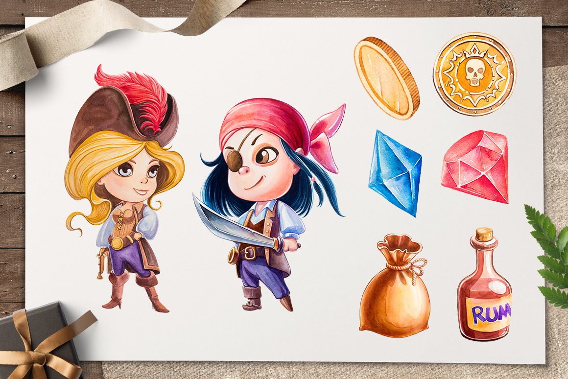 Pirates. Watercolor illustrations. example image 3