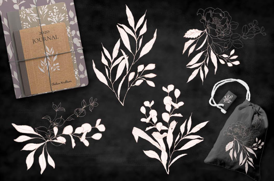 Blush foliage clip art bundle example image 5