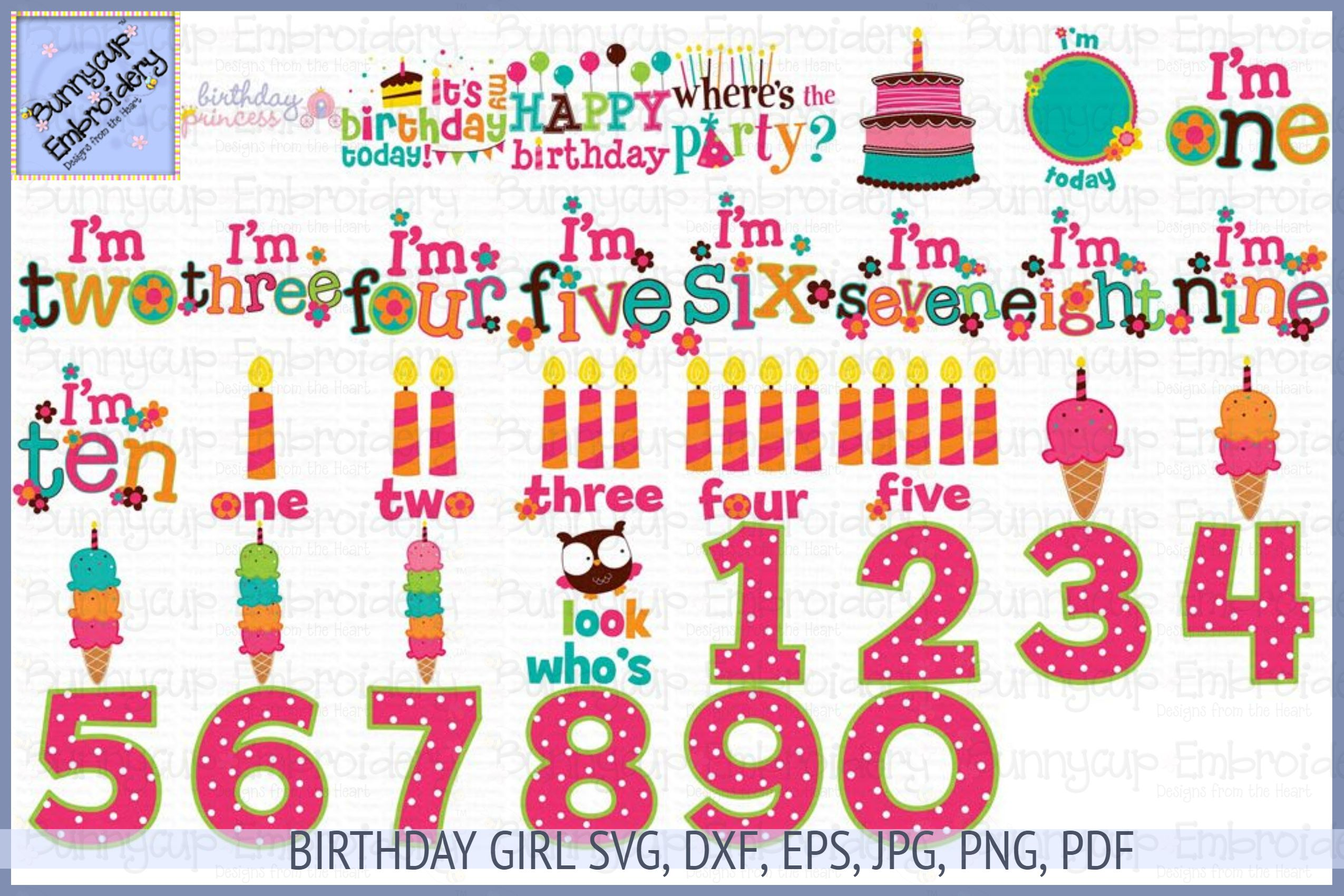 Birthday Girl SVG, Clipart, Printables example image 1