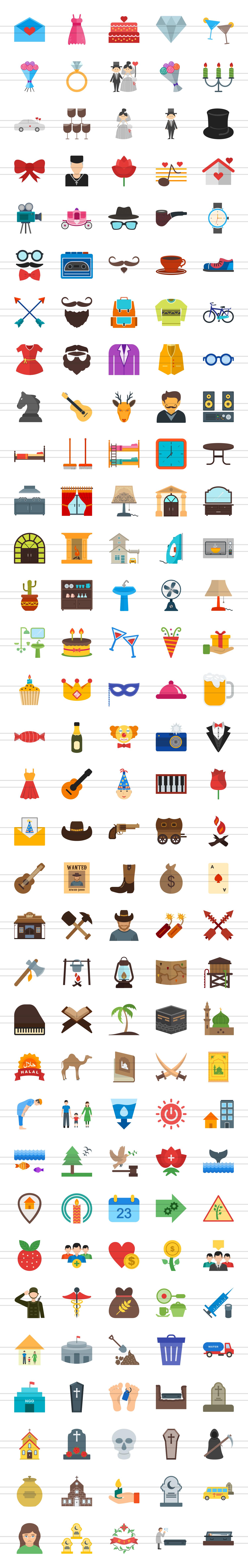 166 Lifestyle Flat Icons example image 2