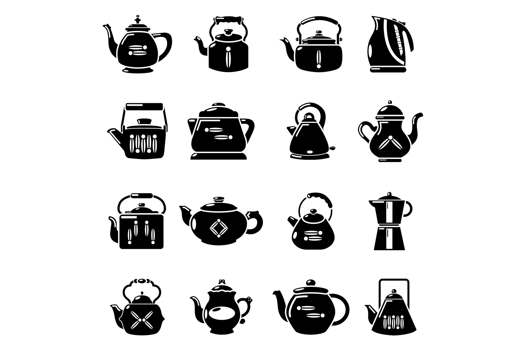 Teapot icons set, simple style example image 1
