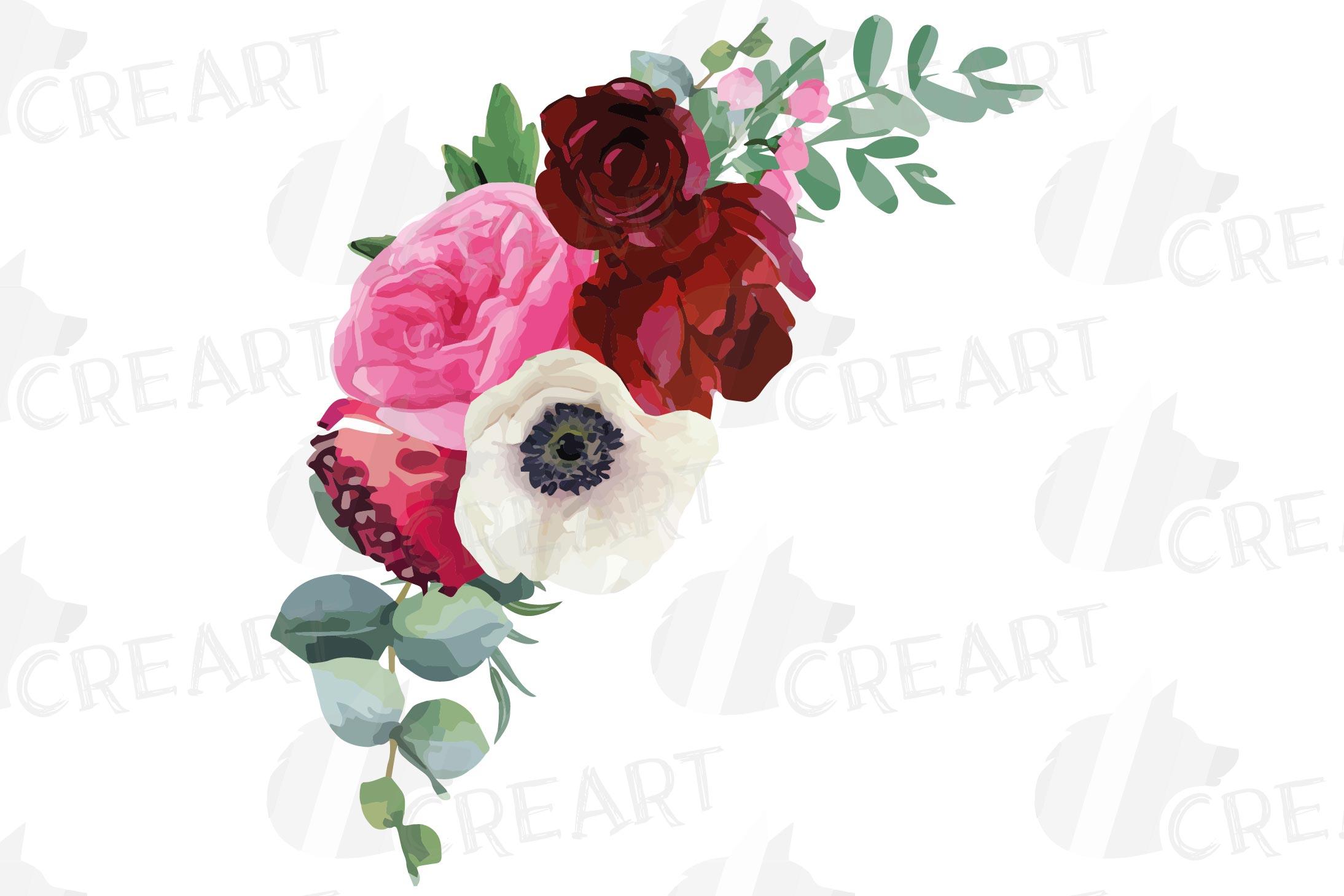Watercolor elegant floral bouquets, rose, anemone decoration example image 4