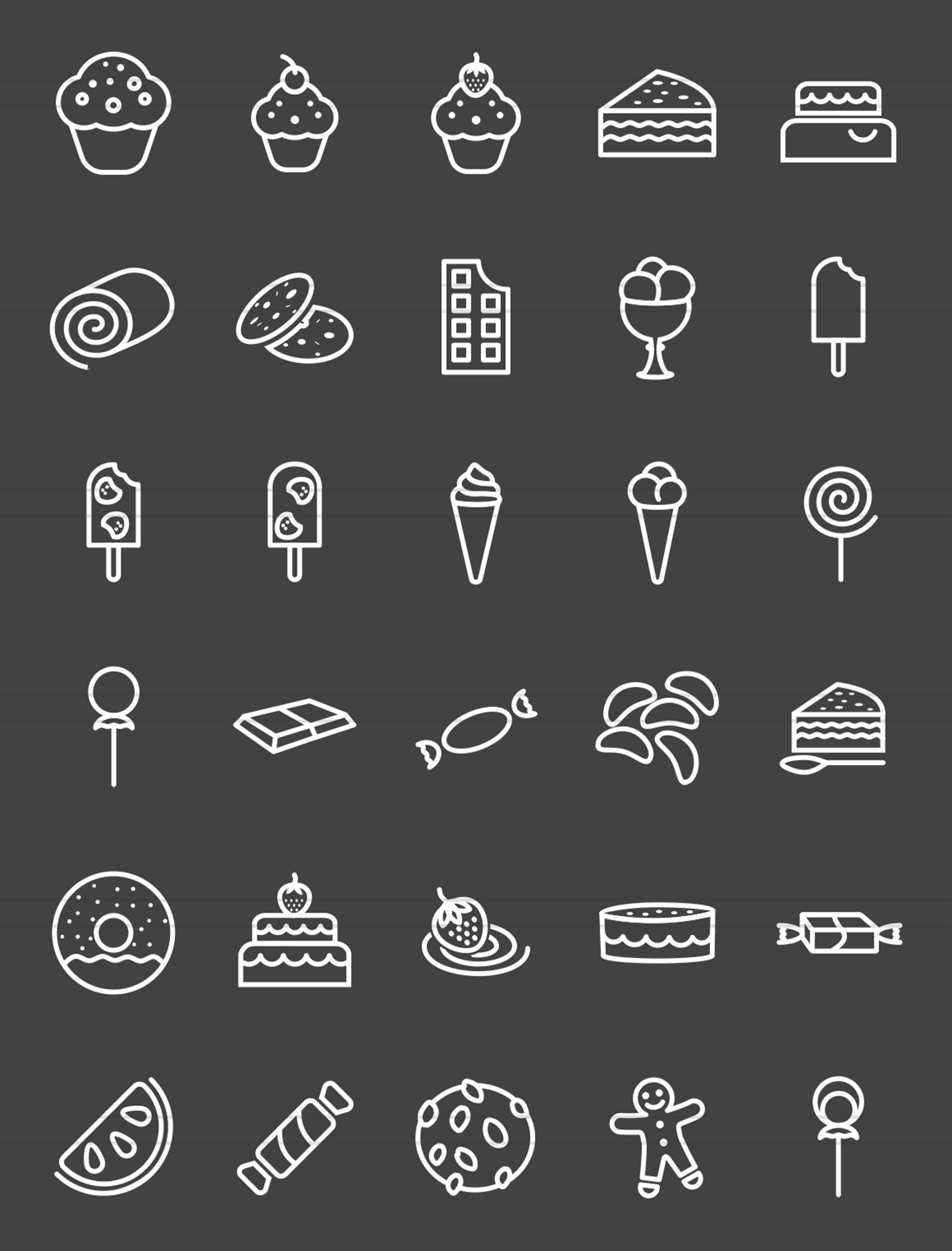 30 Sweets & Confectionery Line Inverted Icons example image 2