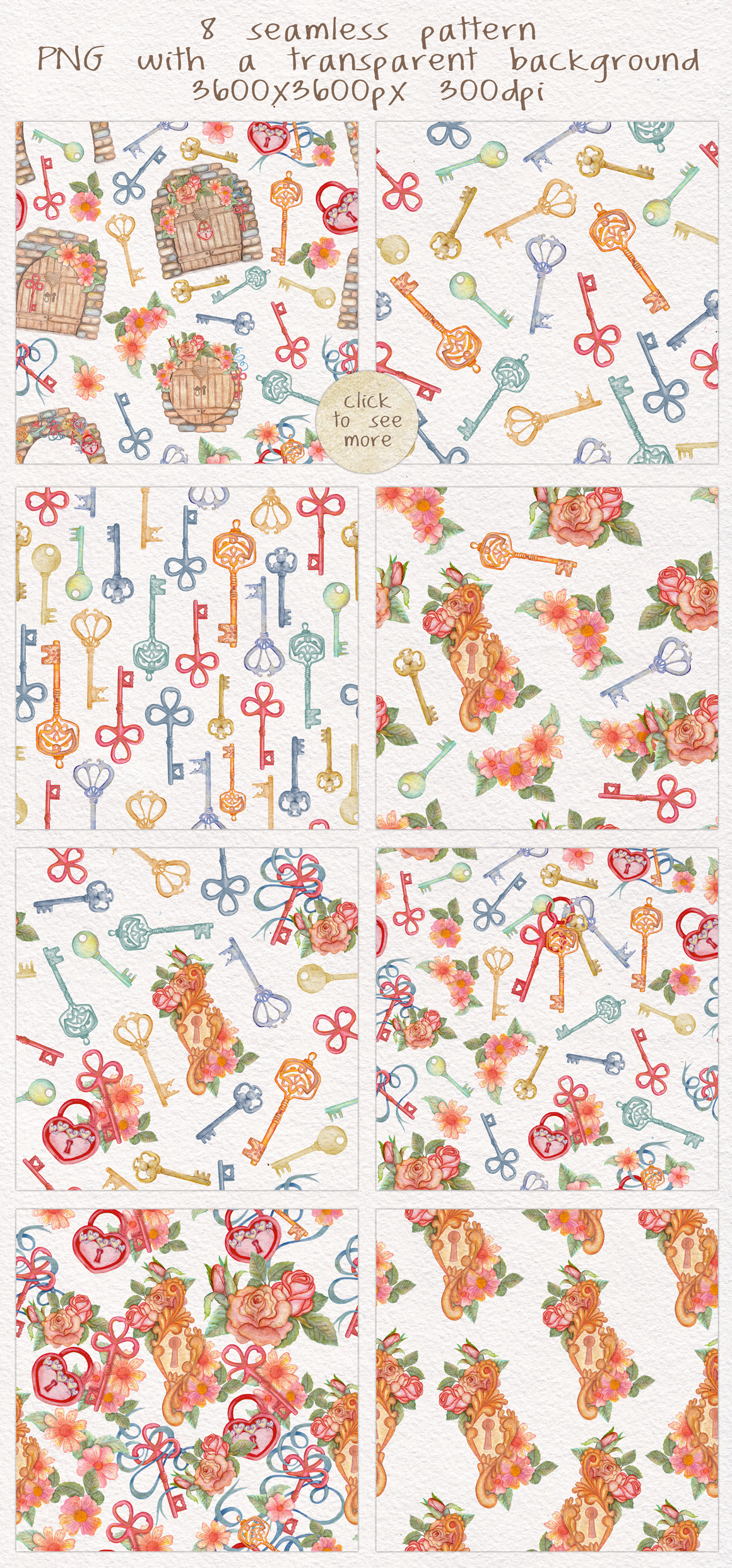 Home Sweet Home. Keys, floral watercolor wonderland collection example image 5