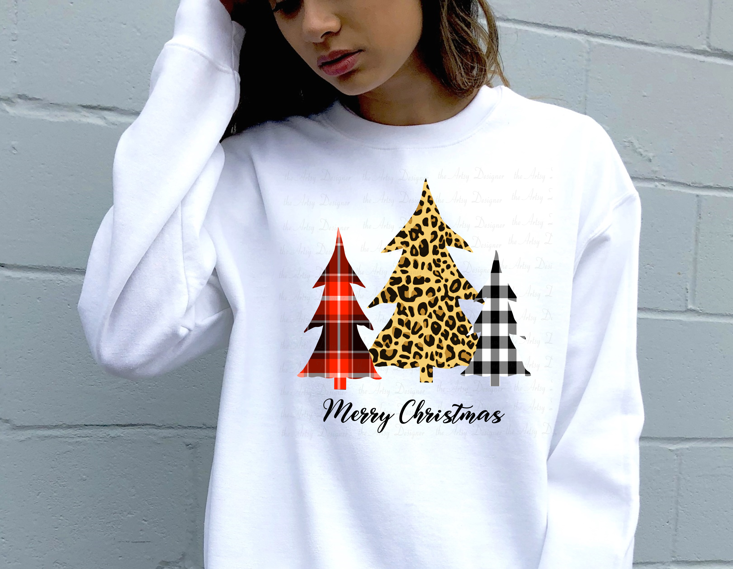Buffalo Plaid Leopard Print Christmas Trees Sublimation example image 3