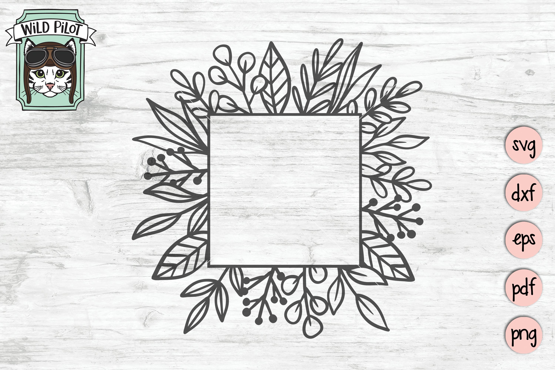 Leaf Monogram Frames, Circle, Square, Split Frame SVG files example image 2