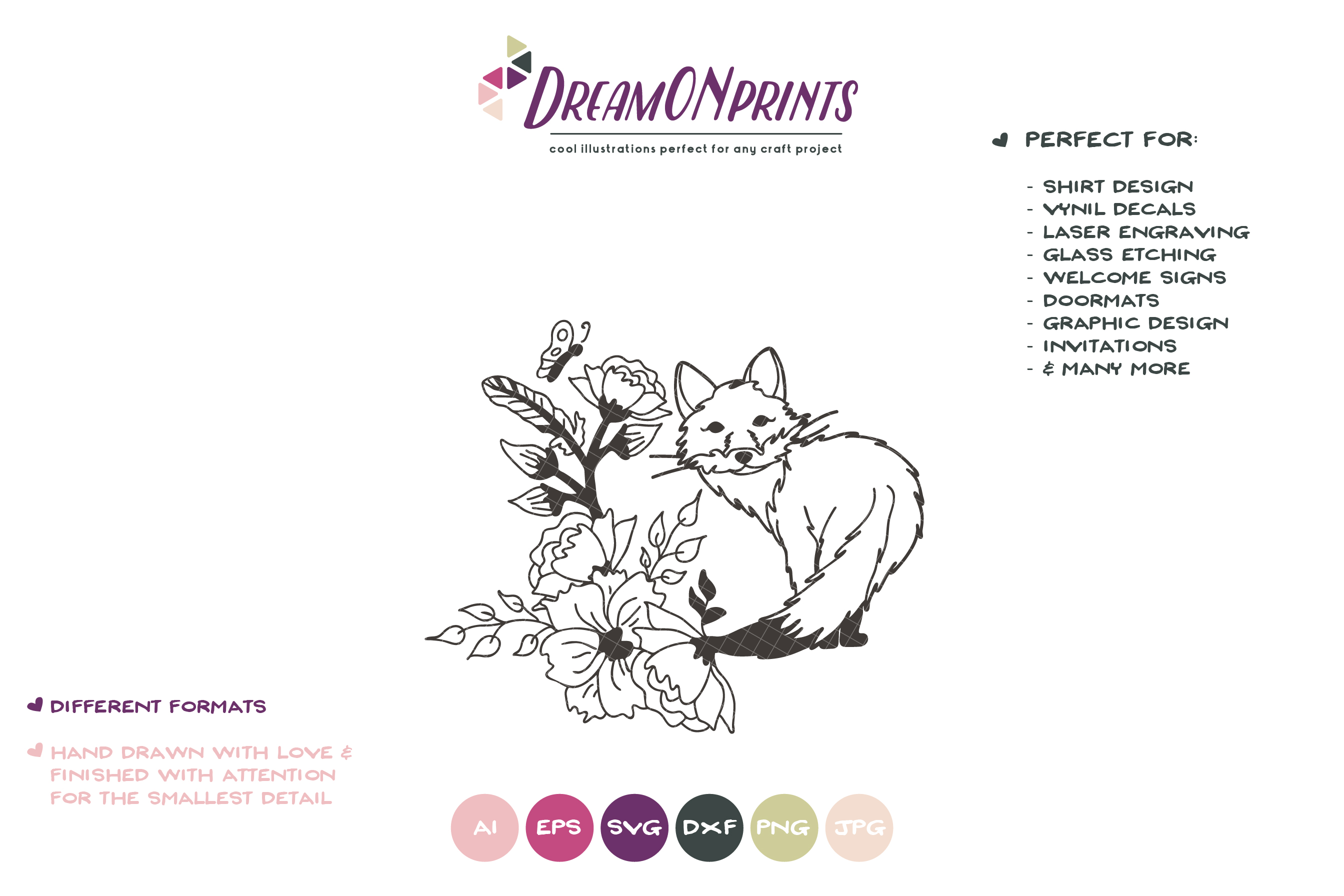 Fox with Flowers| Fox SVG Cut Files| Animals Illustration example image 2