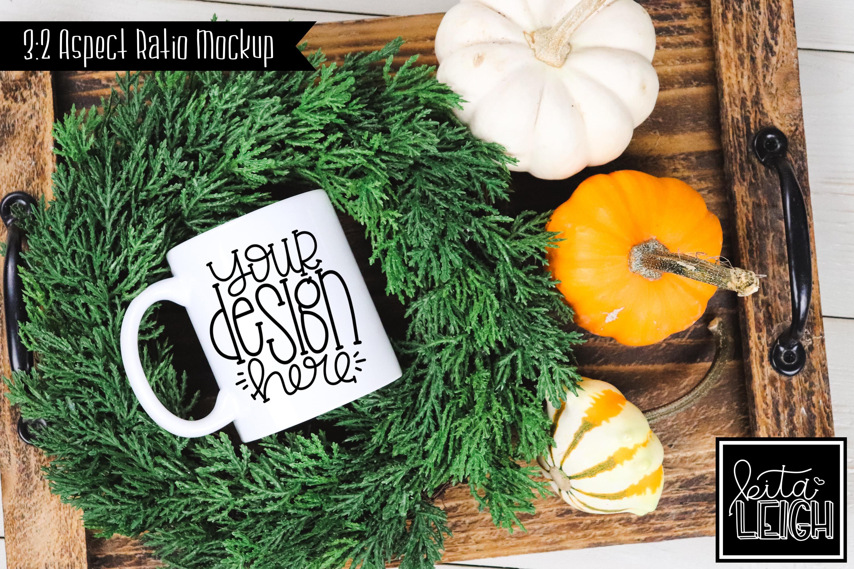 Fall 11 oz Mug with Pumpkins Mockup example image 1