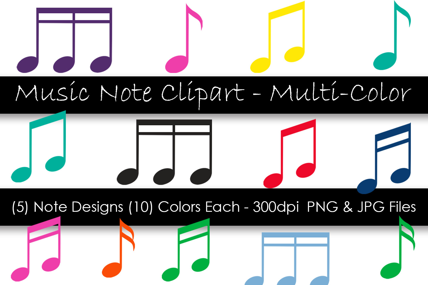 Music Note Clipart - Colorful Music Notes example image 1