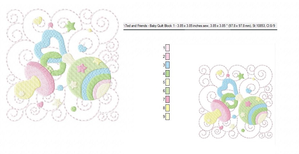 Baby Quilt Block 1 - Machine Embroidery Design in 3 sizes example image 4