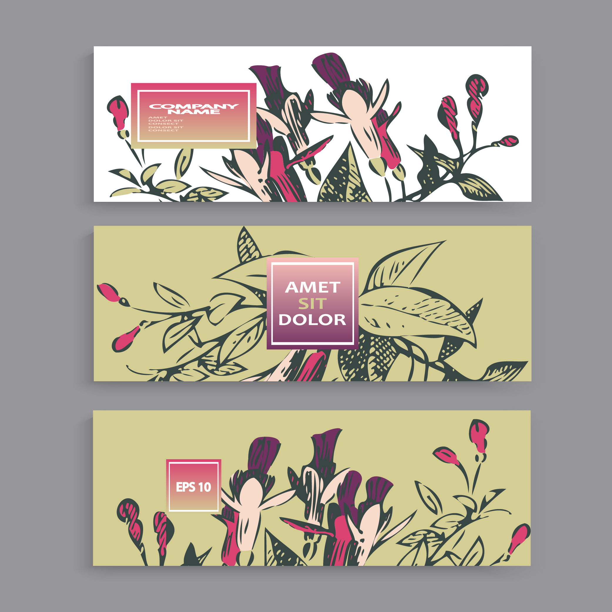Fuchsia flowers wedding invitation card template design example image 4