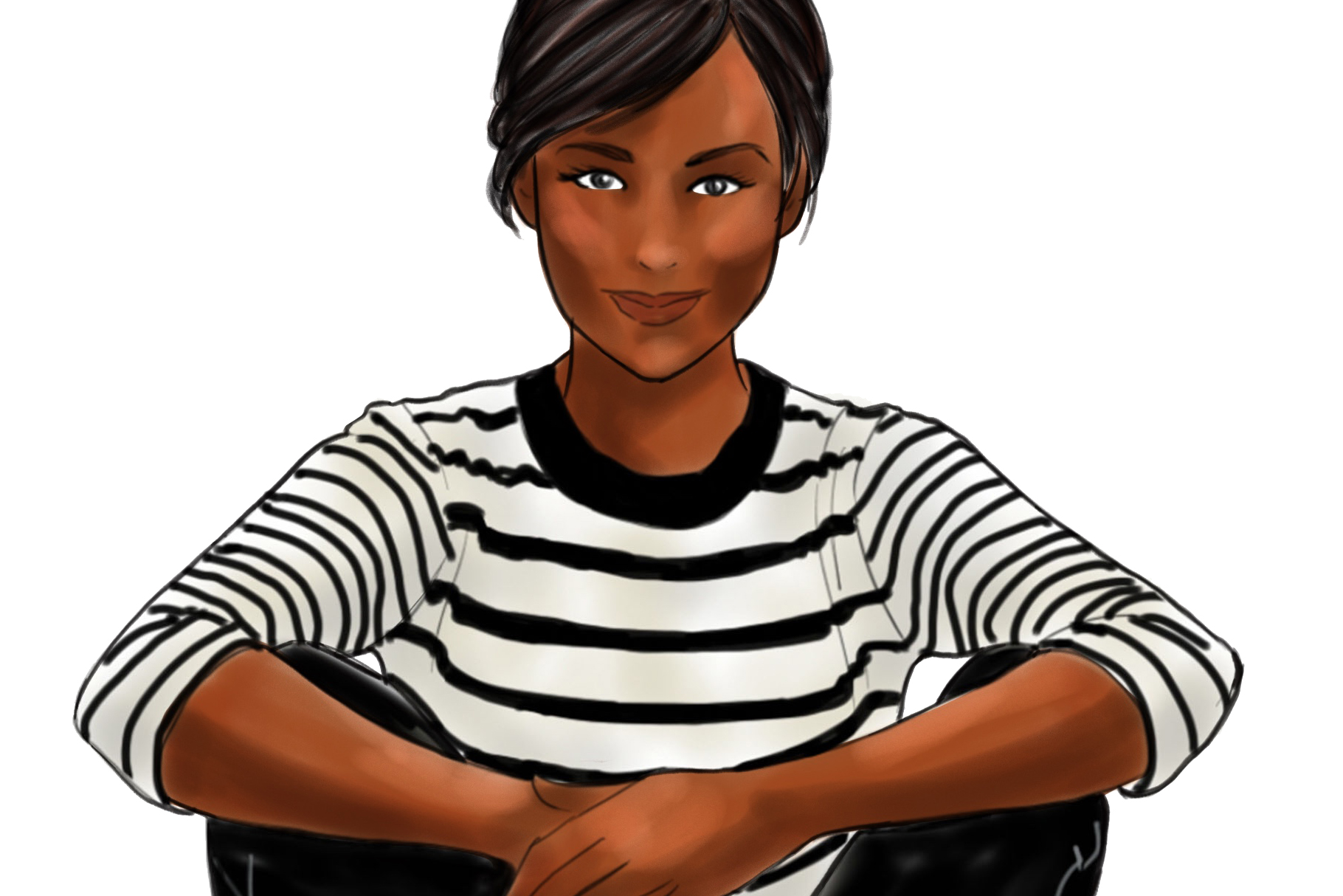 Fashion illustration - Girls in striped T - Dark Skin example image 3