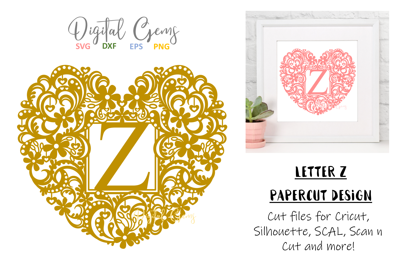 Letter Z paper cut design. SVG / DXF / EPS / PNG files example image 1